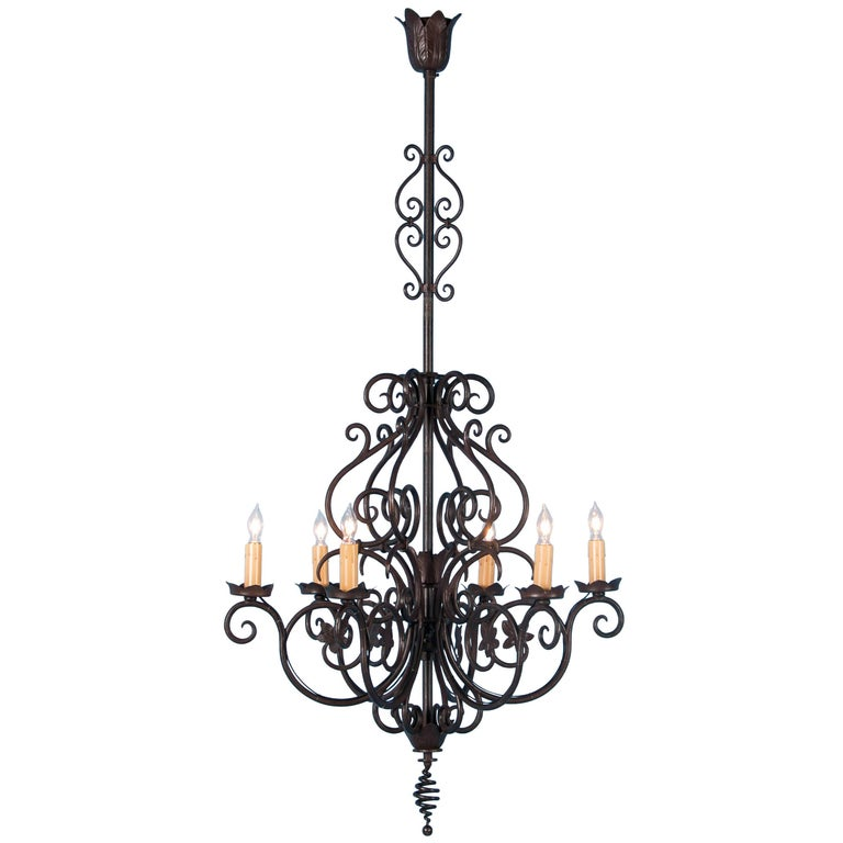 Antique French Six-Light Wrought Iron Chandelier