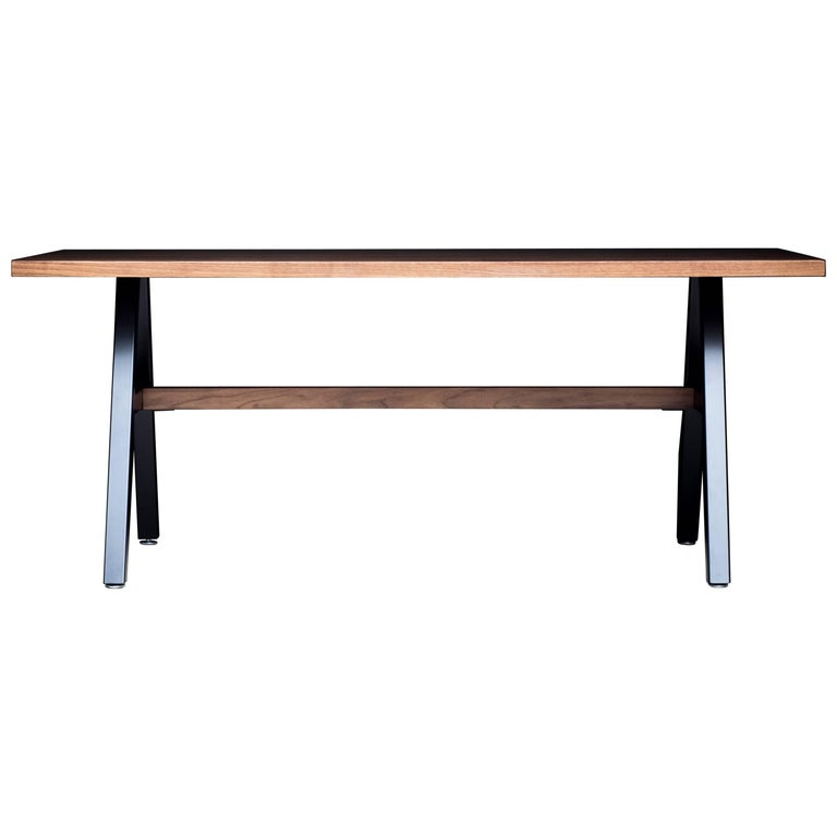 The Cooper, Modern Walnut and Powder Coated Steel Dining Table