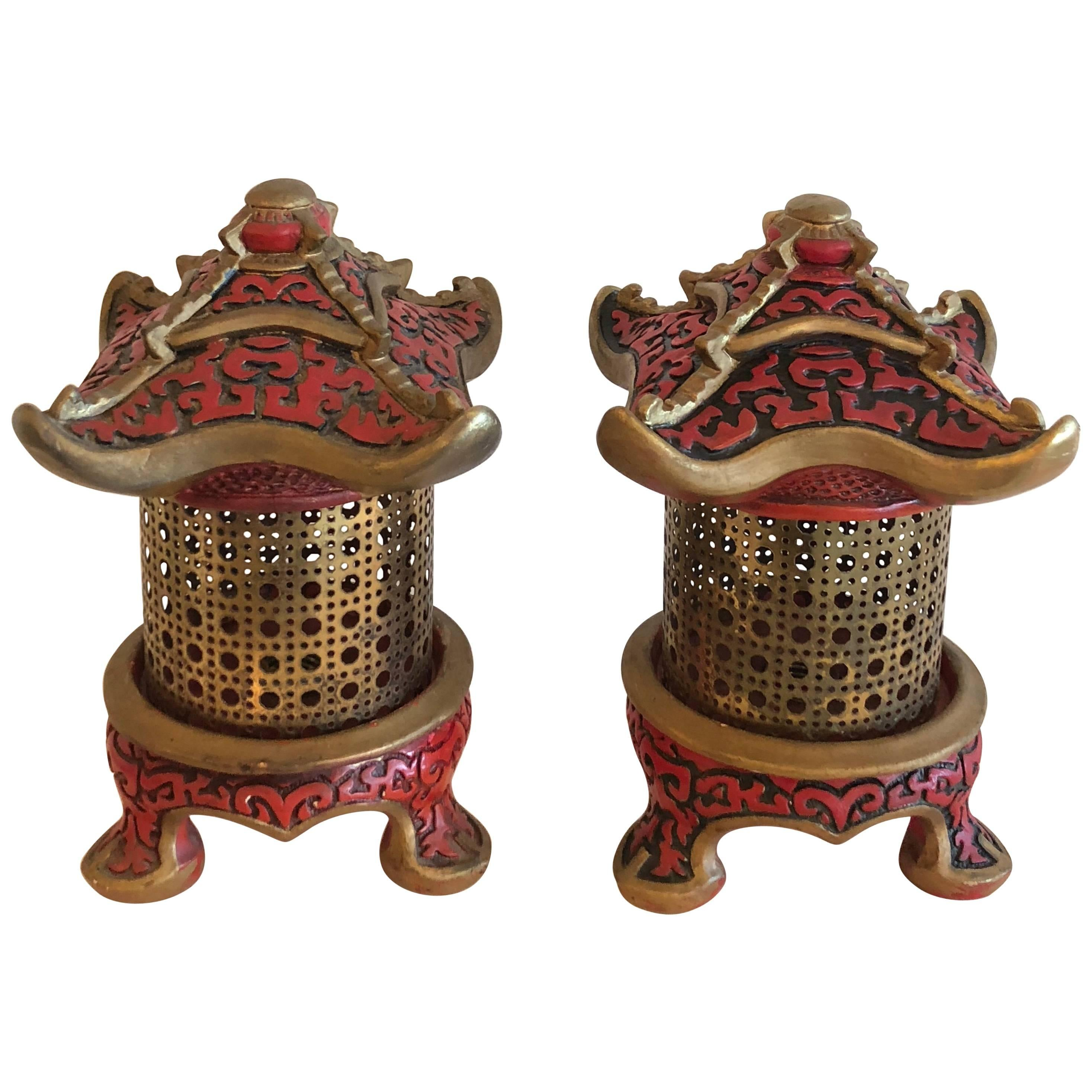 Pair of Vintage Pagoda Table Lamps, Lanterns Chinoiserie