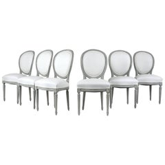 Set of Six French Louis XVI Style Dining Chairs