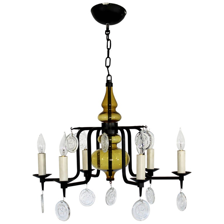 Mid-Century Modern Wrought Iron Glass Chandelier Svend Aage Holm Sorenson, 1950s
