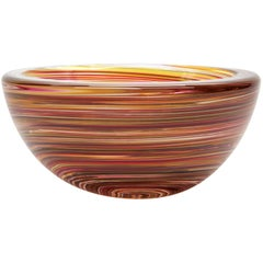 Red 1970s Style Hand Blown Glass Bowl, Swirl Series by Siemon & Salazar