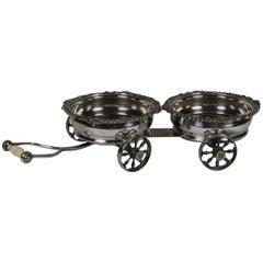 Unusual 19th Century English Silver Plate Wine Coaster Trolley