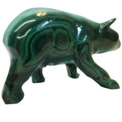 Midcentury Malachite Carving in the Form of a Bear