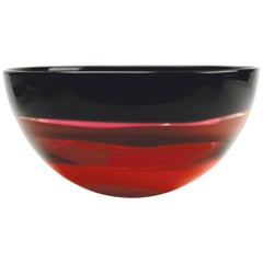 Red Murano Inspired Glass Bowl, Banded Series by Siemon & Salazar