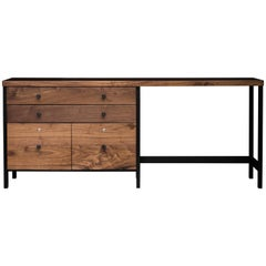 The Buxton, Modern Walnut and Powder Coated Steel, Credenza/Desk
