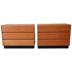 Scandinavian Modern Teak Three-Drawer Chests, Pair