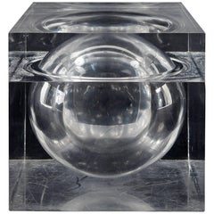 Lucite Cube Lidded Box or Ice Bucket