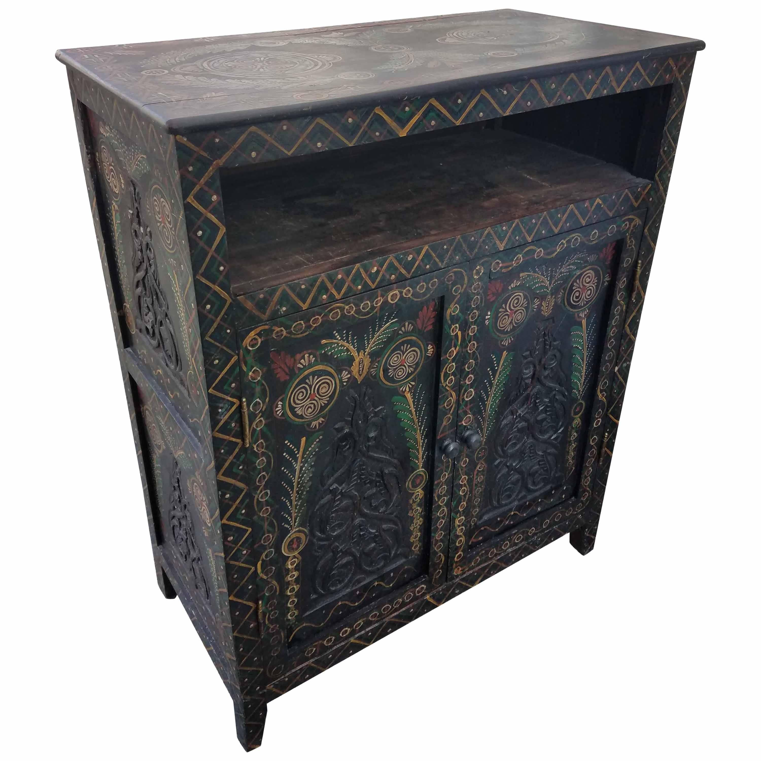 Charmant Moroccan Carved Cabinet, Plenty Of Storage For Sale