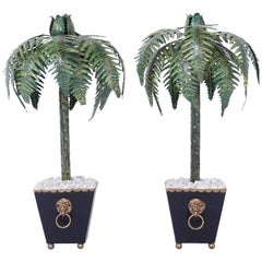 Pair of Tall Tole Palm Tree Candlesticks