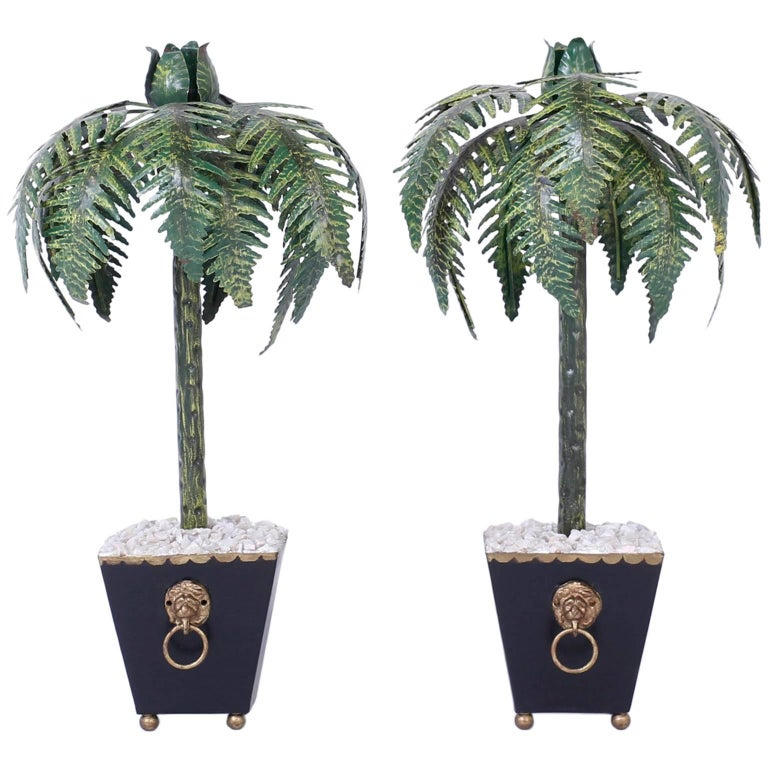 pair of tall tole palm tree candlesticks for sale at 1stdibs. Black Bedroom Furniture Sets. Home Design Ideas