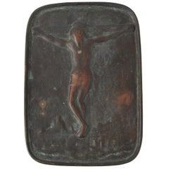 18th Century Japanese Fumi-E Bronze Plaque