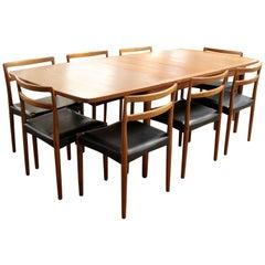Mid-Century Modern Teak Dining Set Table & Eight Chairs Illums Bolighus Danish