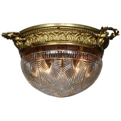 French 20th Century Bronze and Cut-Glass Figural Plafonnier 'Ceiling Light'