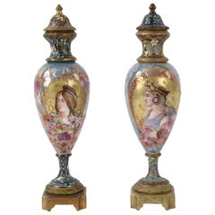 Pair of Miniature Sevres Porcelain French Urns