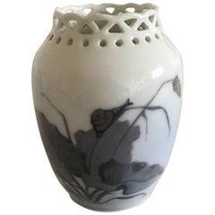 Royal Copenhagen Art Nouveau Snail Vase with Pierced Rim #1883/223