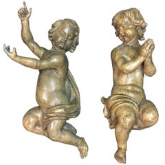 Pair of Italian Carved Wood Figures of Putti, 18th Century