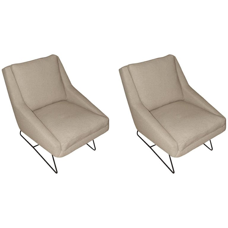 Midcentury Louis Paolozzi Pair of Chairs, France