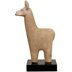 Mid-Century Modern Ceramic Llama Table Sculpture Signed Kempe