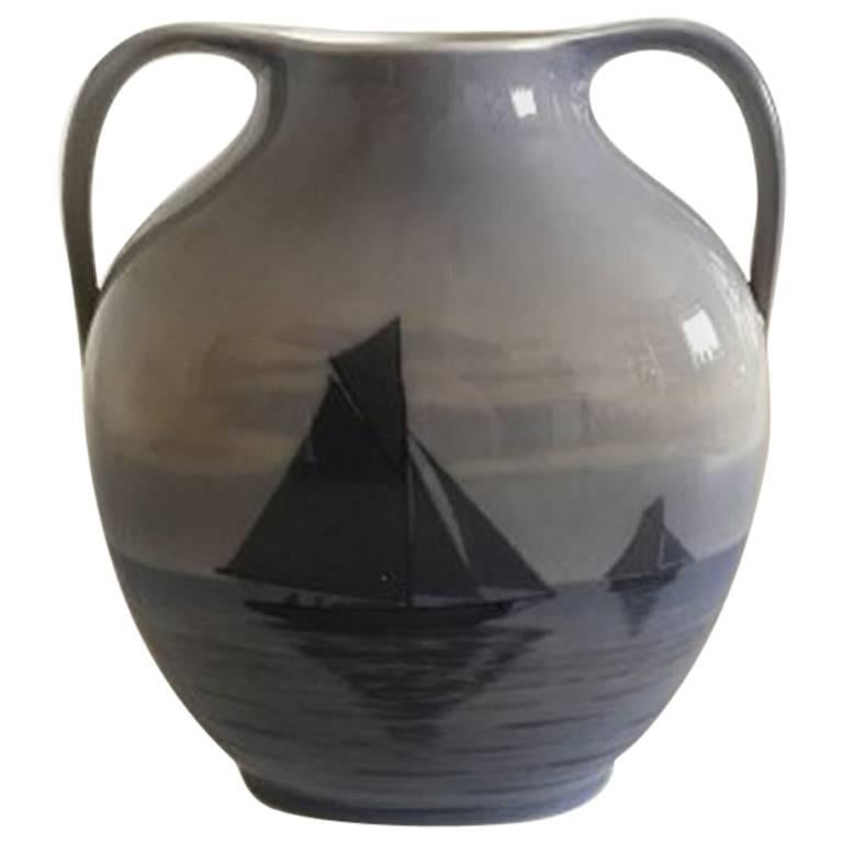 Royal Copenhagen Vase With Two Handles 579227 With Sailboat Motif