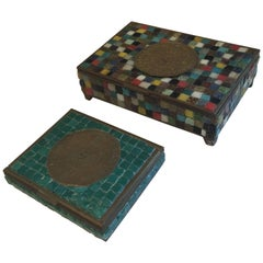 Two Artisan Crafted Mexican Mosaic Boxes