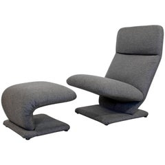 Mid-Century Modern Baughman for DIA Cantilever Lounge Chair and Ottoman, 1970s