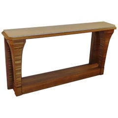 Zebrano Wood Console, France, 1940s