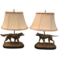 Pair of Antiqued Gilt Sporting Dogs Mounted Lamps