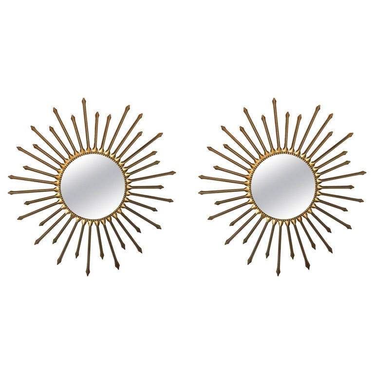 Pair of Chaty Vallauris Sunburst Mirrors