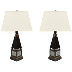 Pair of 'Hollywood Regency' Obelisk Lamps