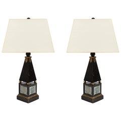 Pair of 'Hollywood Regency' Obelisk Lamps