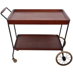 Danish Modern Teak and Black Enamel Rolling Cart with Two Shelves, 1950's