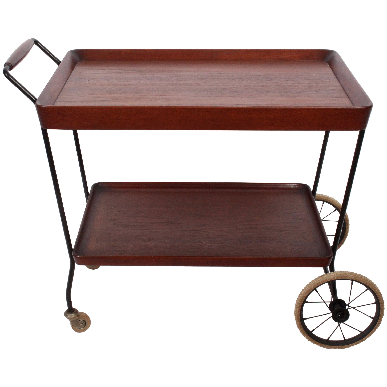 Danish Modern Teak Two Tier Handled Rolling Cart, 1950's
