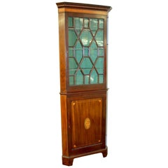 Gorgeous Antique English Inlaid Mahogany Georgian Style Corner Cupboard