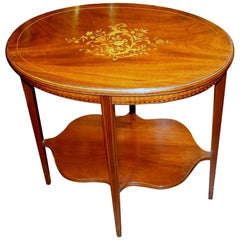 Superb Old English Marquetry Inlaid Mahogany Oval Occasional Table