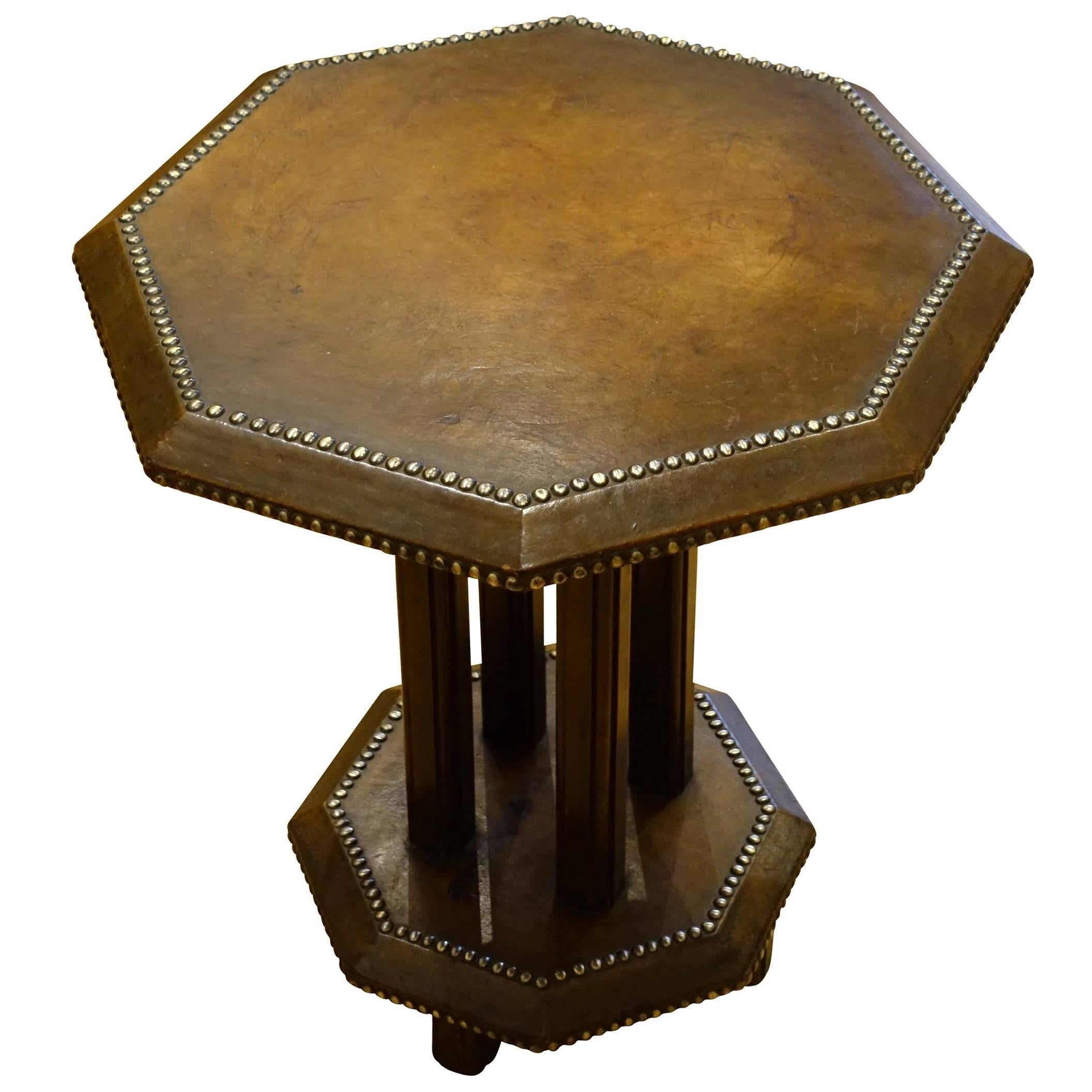 Brown Leather Octagonal Shaped Side Table, England, 1930s