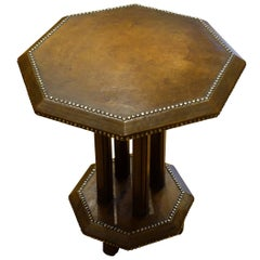 Octagonal Shaped Leather Side Table, England, 1930s