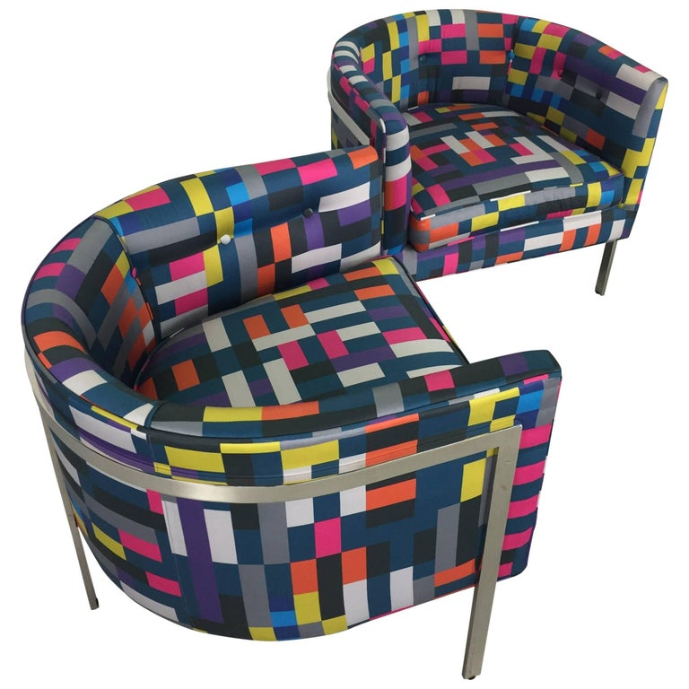 Pair of Club Chairs in Chrome and Knoll Fabric For Sale