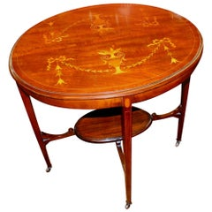 """Exceptional Old English Marquetry Inlay Mahogany """"Adam"""" Style Occasional Table"""