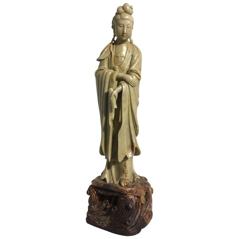 Chinese Republic Period Carved Soapstone Guanyin, Early 20th Century
