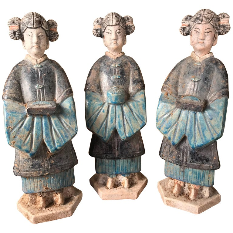 Ancient Chinese Trio Cobalt Blue Glazed Attendants Ming Dynasty, 1368-1644