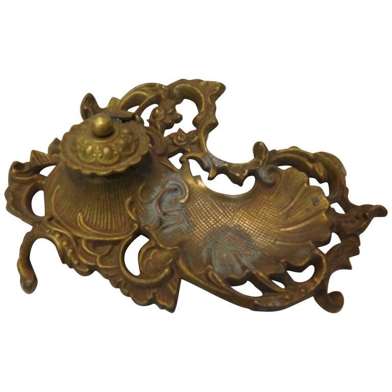 Art Nouveau Bronze Ink Well