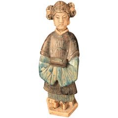 Ancient Chinese Cobalt Blue Glazed Attendant, Ming Dynasty, 1368-1644