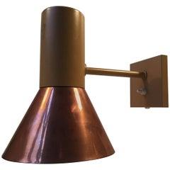 Large Danish Modern Copper Wall Lamp from Fog & Mørup, 1970s