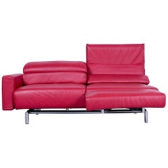 Strässle Matteo Designer Sofa Leather Red Relax Function Two-Seat Modern
