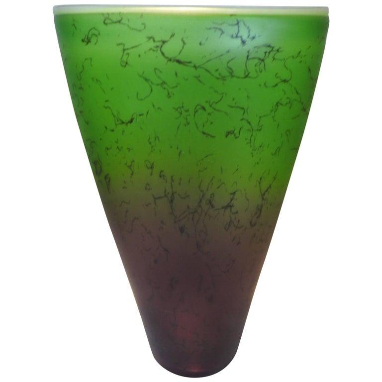 Vintage Green And Gold Glass Urn Vase For Sale At 1stdibs