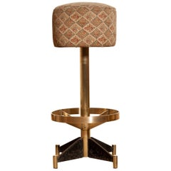 1960s, Set of Five Brass Swivel Barstools, Italy