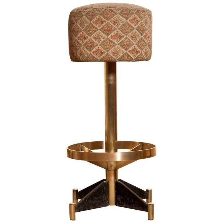 1960s, Set of Five Brass Swivel Barstools, Italy For Sale