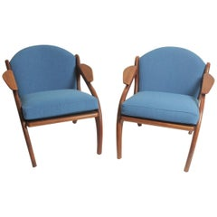 Pair of Adrian Pearsall Walnut Chairs