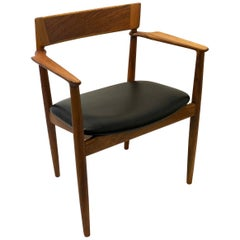 Danish Modern Rosewood and Walnut Leather Seat Armchair by Grete Jalk